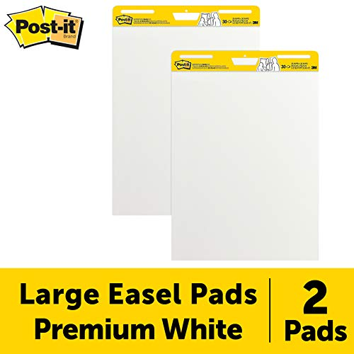 Post-it Super Sticky Easel Pad, 25 x 30 Inches, 30 Sheets/Pad, 2 Pads, Large White Premium Self Stick Flip Chart Paper, Super Sticking Power (559) (Best Way To Hang Posters In Classroom)
