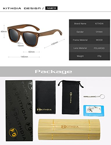 Gafas KITHDIA de Polarizadas de modelo Gafas vintage anteojos madera hombres Bambú Madera Gafas de Azul Sol sol Gafas de moda Lentes sol espejos de de de de de los y gwgqrvd