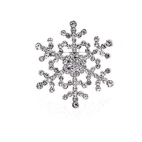 Crystal Winter Snowflake Flower Clear Rhinestone Elegant Chrismas Corsage Brooch Pin Silver