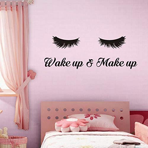 (TOARTi Wake Up &Make Up Wall Decal Fashion Eyelash Wall Sticker Women Beauty Quote Sticker for Bedroom Decoration)