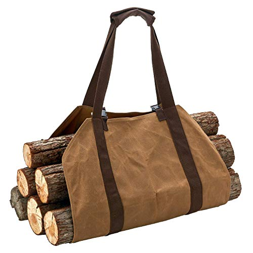 Canvas Log Carrier Bag,Canvas Firewood Log,Waxed Durable Wood Tote, Carrier Durable Heavy Fireplace Stove Accessories Extra Large Firewood Bag,Firewood Holder with Handles Packing Camping Picnic Outdo