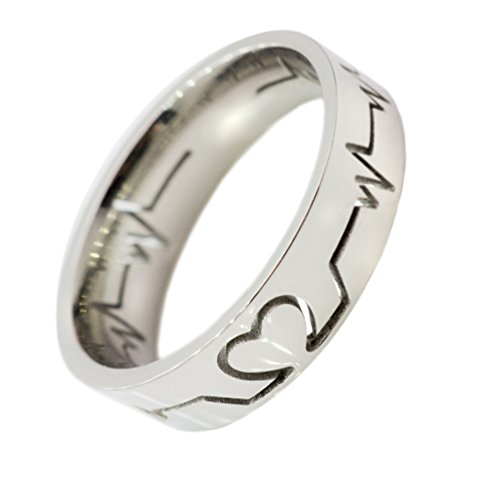 WDSHOW Heart Beat Rings Silver-Tone for Men Women Size (Love Cut Out Ring)