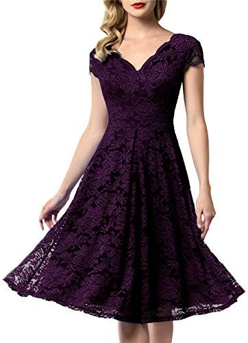 (AONOUR 0052 Women's Vintage Floral Lace Bridesmaid Dress Wedding Party Midi Dress Cap Grape 3XL)