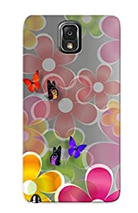 Quality Crazinesswith Case Cover With Multicolored Daisies And Butterflies Nice Appearance Compatible With Galaxy Note 3()