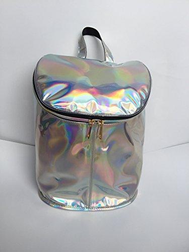Flada chica y el niño brillante holograma TPU casual mochila bucket forma bolsas de viaje mochila escuela negro La Plata