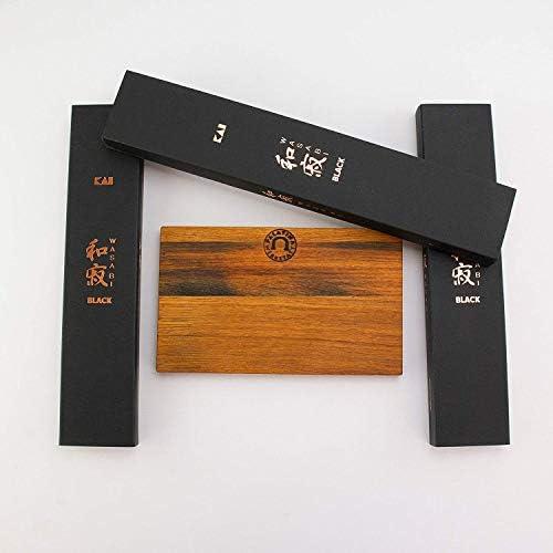 Palatina Werkstatt ® | Kai Wasabi Black Messerset | handliches Santoku 16,5 cm | Officemesser 10 cm | Allzweckmesser 15 cm | + Eichenbrett aus Fassholz 30x18 cm | VK: 159,-