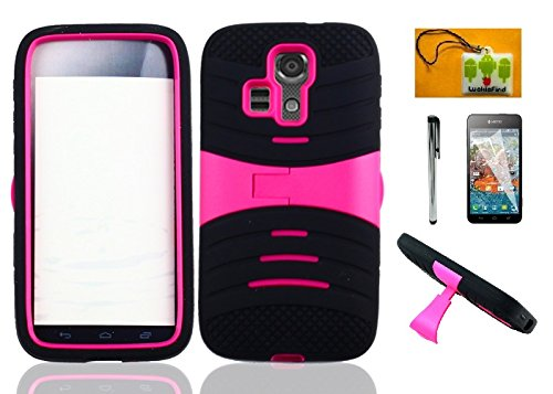 LF 4 in 1 Bundle - Hybrid Dual Layer Armor Case with Stand, Lf Stylus Pen, Screen Protector and Droid Wiper for (MetroPCS / T-Mobile / Boost) Kyocera Hydro Icon C6730 / Life C6530 (Armor Stand Pink) ()