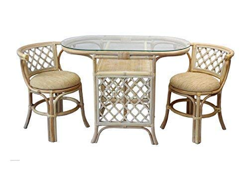 Borneo Compact Dining Set Table with Glass Top +2 Chairs White Wash Handmade Natural Wicker Rattan Furniture