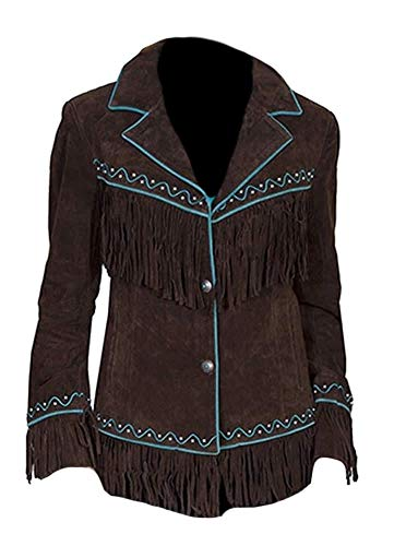 Stormwise Women's Western Suede Leather Fringed Jacket Brown X-Large