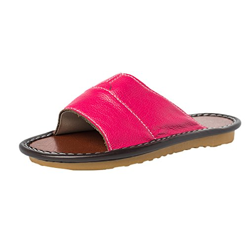 Sandals Closed Slip Slippers Leather Sole Resilient Haisum Toe Anti Summer Rose House Rubber Womens wq78C8xIa