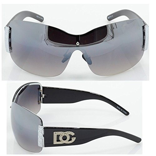 Womens DG Sunglasses Eyewear Designer Shades Color Large Size Black Silver - People For Sunglasses Blind
