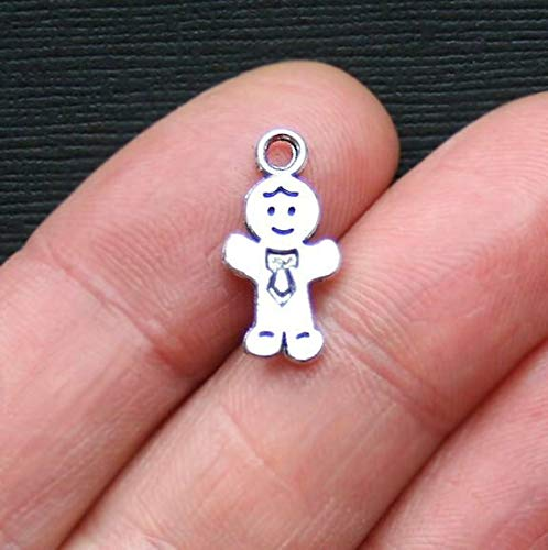 Extensive Collection of Charm 10 Gingerbread Man Charms Antique Silver Tone 2 Sided - SC2291 Express Yourself]()