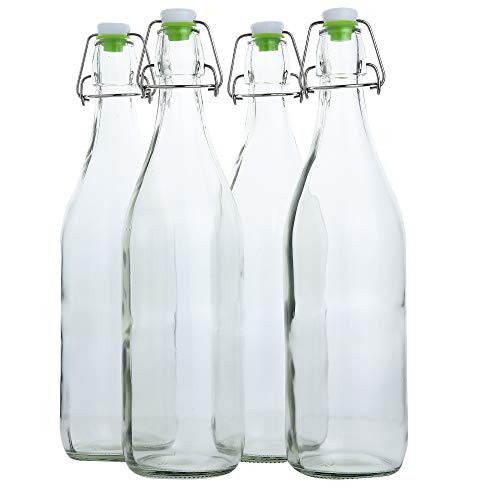 Flip Top Glass Bottle [1 Liter / 33 fl. oz.] [Pack of 4] - Swing Top Brewing Bottle with Stopper for Beverages, Oil, Vinegar, Kombucha, Beer, Water, Soda, Kefir - Airtight Lid & Leak Proof Cap - Clear ()