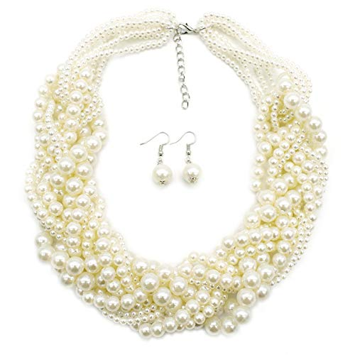 MeliMe Simulated Pearl Choker Necklaces for Women Multilayer Beads Bib Necklace and Earrings Set (White)