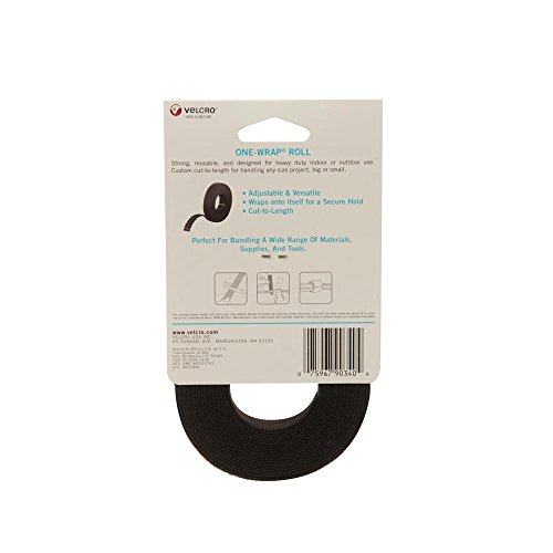 "075967903404 - VELCRO Brand - ONE-WRAP Roll, Double-Sided, Self Gripping Multi-Purpose Hook and Loop Tape, Reusable, 12' x 3/4"" Roll - Black carousel main 1"