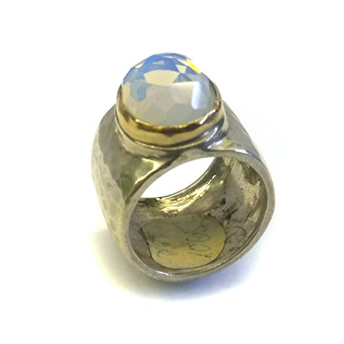 High End Classic Thick Oval Opaline Ring in Sterling Silver and Yellow Gold, Size 7