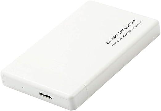 Shiwaki デスクトップ用2.5インチポータブルUSB 3.0 SATA外付けハードドライブHDDケースプラスチック+ケーブル(ホワイト) - 1TB