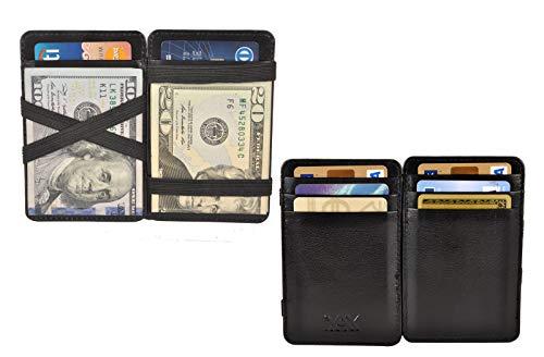 XAX RFID Blocking Thin Minimalist Magic Wallet, Vegetable Tan Leather (Black)