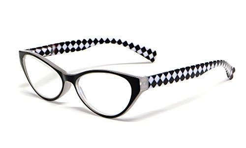 Calabria Emily Designer Reading Glasses in Black & White Che