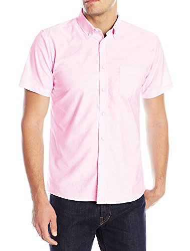 Deborri Men's Short Sleeve Cotton Solid Fitted Button Down Oxford Shirts ()
