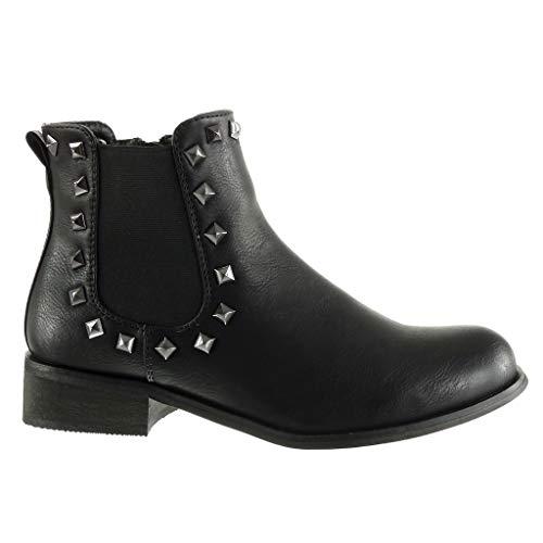 Cavalier Chelsea 3 Ancho Stile 5 Forrada Angkorly Negro Mujer Plantilla Alto Zapatillas Vendimia Tachonado Moda Talón Botines Boots Piel Cm De Tacón BwfYCwq