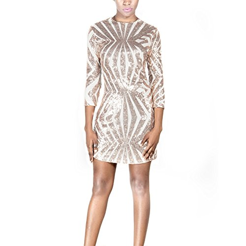 Clothingloves Mini Long Sleeve Sequin Open Back Short Bodycon Party Club Evening Dress