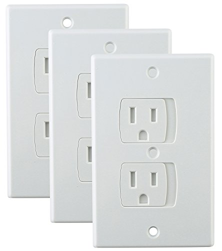 Universal Self-Closing Electrical Outlet Covers for Baby Proofing (3 Pack) – Automatic Sliding Seal - No Choking Hazard – House Protection Kit – Best Alternative to Wall Plate Socket Plugs - White - Cabinet Energy Efficient Appliances