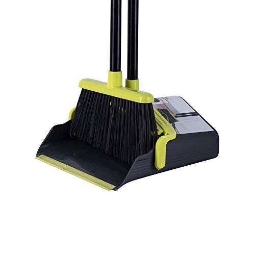 Long Handle Broom and Dustpan Set Broom Set Cleaning Supplies Upright Dust Pan Combo for Home Kitchen Office Lobby Floor Indoor Outdoor Dustpan Broom Set