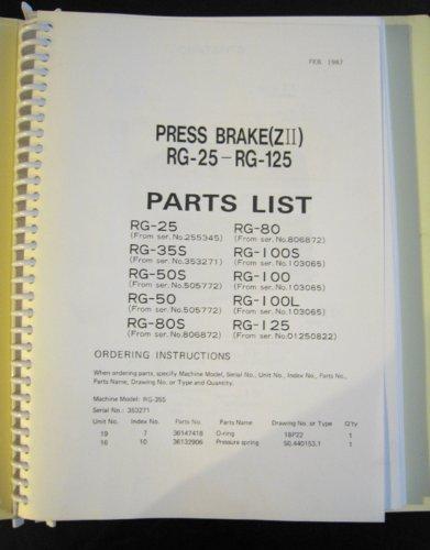 Amada Press Brake RG-25 Thru RG-125 Parts Lists: Amada