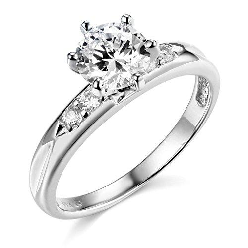 TWJC 14k White Gold Solid Wedding Engagement Ring - Size 7