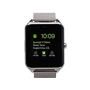 MSRM Smart Watch Bluetooth Touch Screen Flexible Band Unlocked Watch Cell Phone for Android Smartphones and iPhone Silver (Partial Functions for Iphone)