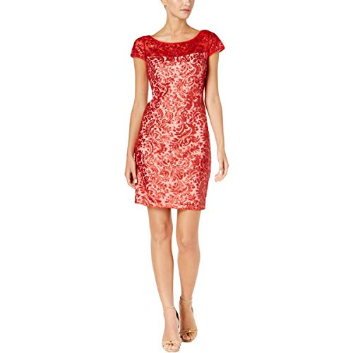 Calvin Klein Womens Party Night Out Cocktail Dress Red 8