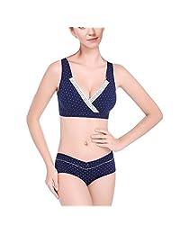 AVITALK Women's Nursing Maternity Dot Printing Bra&Underwear Set- Dark Navy- B40(Bra)+Size XXL(Panty)
