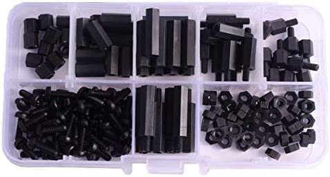 U-Mest/® M3 Nylon Hex Spacers Screw Nut Stand-off Plastic Accessories Assortment with Plastic Box Black 180pcs