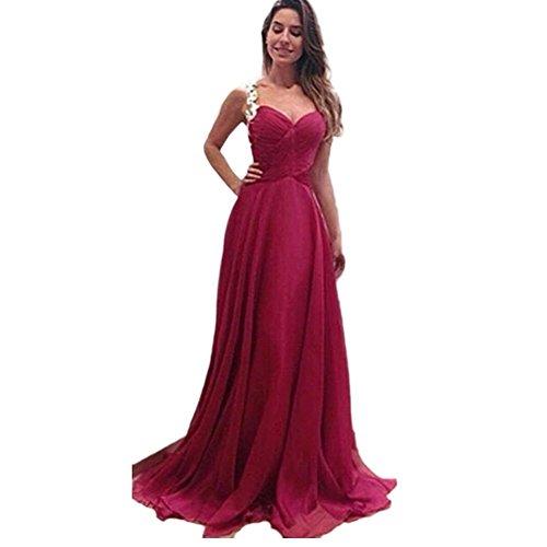 CC * CD mujeres damas de honor formal vestido, vestido de cóctel Full fiesta noche, Gasa, Rojo, Large: Amazon.es: Hogar