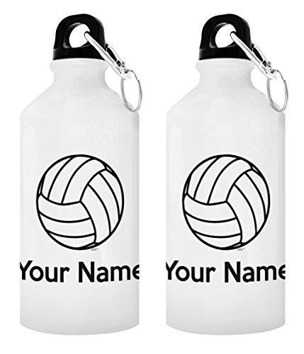 ThisWear Personalized Volleyball Gifts Customized Volleyball Water Bottle Personalized Gift 2-Pack Aluminum Water Bottles with Cap & Sport Top White
