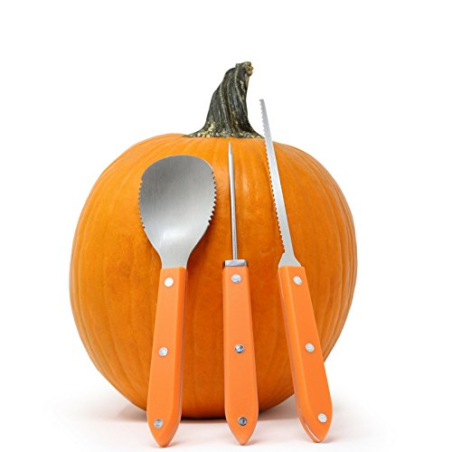 Premium 3 Piece Pumpkin Carving Kit (Plus 15 Pumpkin Carving Pattern/Stencil E-Book) Sturdy Stainless Steel Pumpkin Tools Crafted For Efficiency While Carving Your Pumpkin, by Creative Carving (Pumpkin Carving Knives)