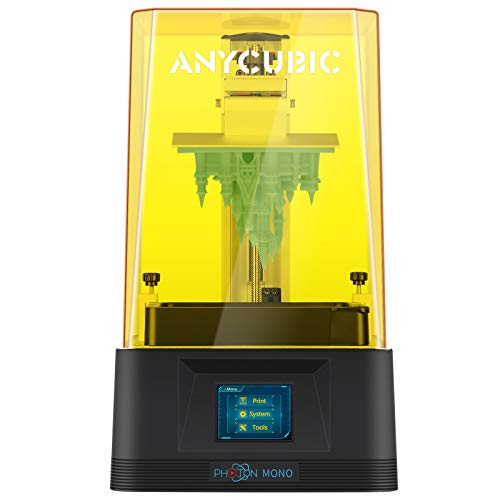 "ANYCUBIC Photon Mono 3-D Printer, UV LCD Resin 3-D Printer Fast Printing with 6.08'' 2K Monochrome LCD, Off-line Print 5.11""(L) x 3.14""(W) x 6.49""(H) Printing Size"