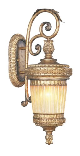 Livex Lighting 8902-65 Outdoor Wall Lantern with Hand Crafted Gold Dusted Glass Shades, Vintage Gold Leaf ()