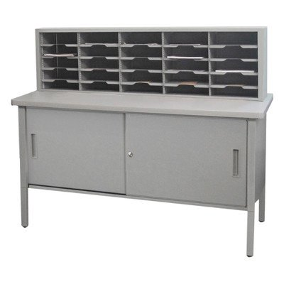 25 Adjustable Slot Literature Organizer with Cabinet Color: Gray Textured Steel/Gray Laminate Surface by Marvel
