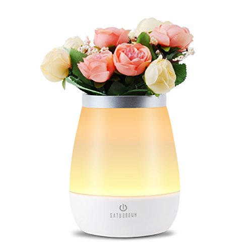 Vase Table Lamp Beside Light, Satu Brown Touch Control Dimmable Night Light Mood Decorative Lighting for Bedroom/ Living Room/ Nursery/Restaurant