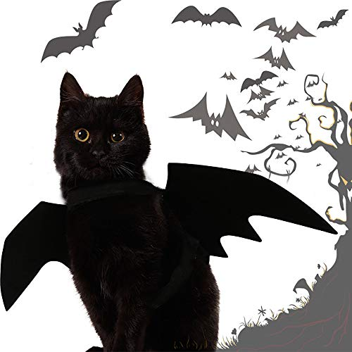 Glumes Bat Wing Pet Harness/Costume Halloween Dog Cat Costume for Pet Cats Dogs Bat Wings Pets Wings Black Cool Puppy Kittens Black Bat Transfiguration Halloween Cat Clothes (45x16cm, Black) -