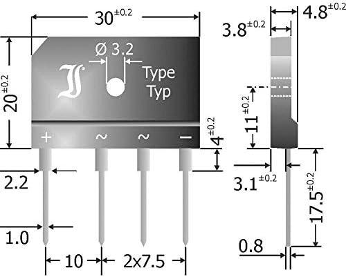 DIOTEC GBI25A Brückengleichrichter SIL-4 50 V 25 A Einphasig