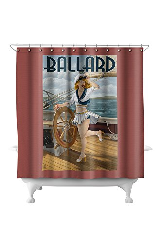 Ballard - Seattle, Washington - Pinup Girl Sailing (71x74 Polyester Shower Curtain) ()
