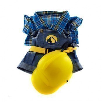 """Construction Worker with Hard Hat Teddy Bear Clothes Fits Most 14""""-18"""" Build-a-bear and Make Your Own Stuffed Animals  from Stuffems Toy Shop"""