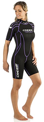 Cressi Tortuga Wetsuit Women Shorty 2.5 mm Premium Neoprene, Size 6/XX-Large, Black/Lilac (Wetsuit Womens Shorty)