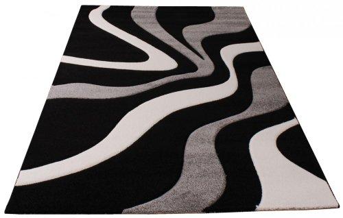 paco home tapis de crateur aux contours dcoups motif vagues en gris noir blanc dimension120x170 cm amazonfr cuisine maison - Tapis Gris Et Blanc