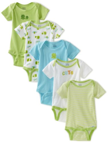 Gerber Unisex-Baby 5 Pack Variety Print Onesies Brand, Green And Yellow, 3-6 Months