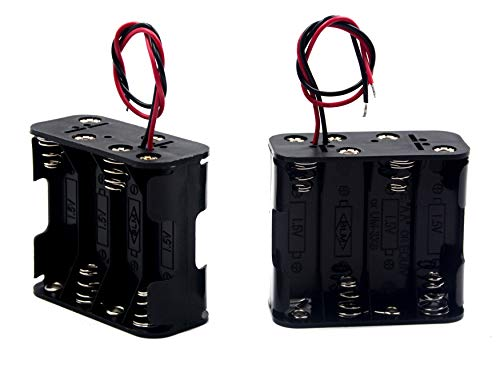 LAMPVPATH (Pack of 2) 8 AA Battery Holder, 12v AA Battery Holder, 8 AA Battery Holder With Leads-Double Layers Battery Holder(Each layer loads four aa batteries)