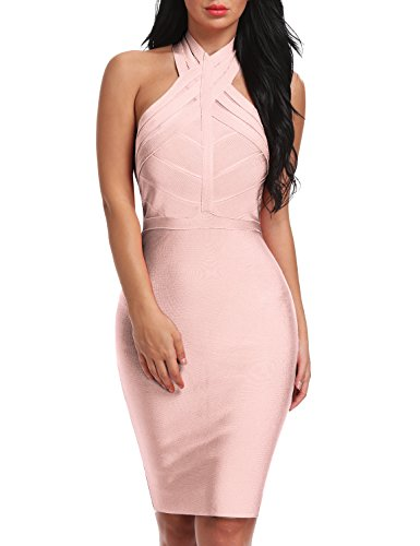 Nude Halter Backless Party Sunlen Dress SL14358 Bandage Mesh Women's 6qwpv4xS8